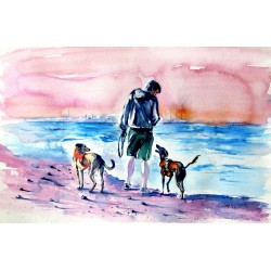 Walk with dogs on the beach