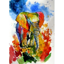 Colorful elephant on the field