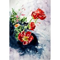 Red poppies in garden