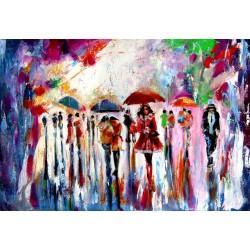Rain, people and umbrellas II