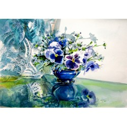 Still life with pansy flower