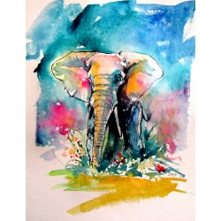 Colorful elephant with flowers