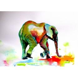 Colorful elephant alone II