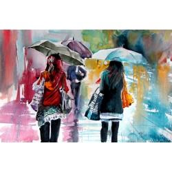 Rainy day with umbrellas II